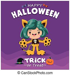 Vintage Halloween poster design with vector tiger character.