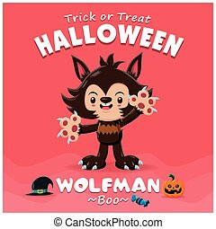 Vintage Halloween poster design with vector wolfman...