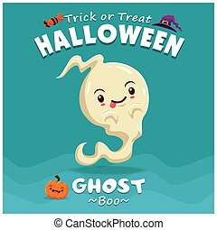 Vintage Halloween poster design with vector ghost character.