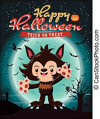 Vintage Halloween poster design with vector wolf man...