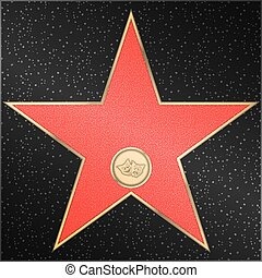 Star, comedy, tragedy, masks, vector - Red marble star with...