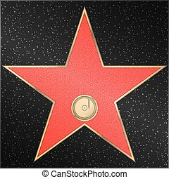 Star, phonograph, record, vector - Red marble star with a...