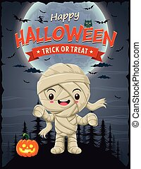 Vintage Halloween poster design with vector mummy character.