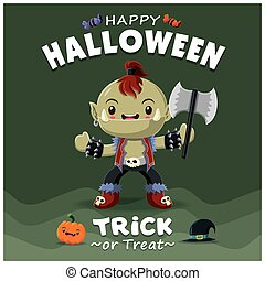 Vintage Halloween poster design with vector orc character.