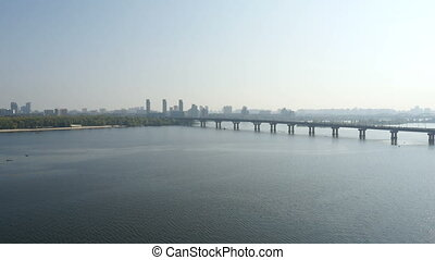 Aerial Paton Bridge over Dnieper river - Paton Bridge over...