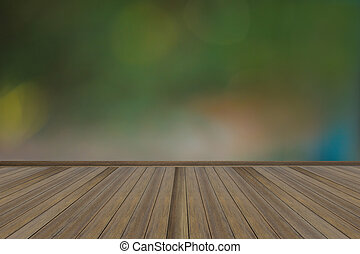 Empty green wall and wooden floor