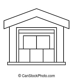 Warehouse icon, outline style - icon. Outline illustration...