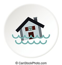 Flood icon, flat style - Flood icon. Flat illustration of...