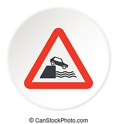 Sign in front of cliff icon, flat style - Sign in front of...