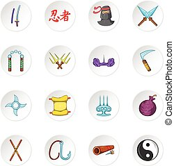 Ninja icons, cartoon style - Ninja icons set Cartoon...
