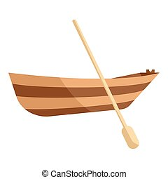Wooden boat with paddle icon, cartoon style - icon Cartoon...
