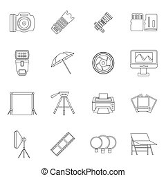Photo studio icons set, outline style - Photo studio icons...
