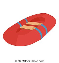 Red inflatable boat icon, cartoon style - icon. Cartoon...