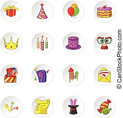Celebration icons, cartoon style - Celebration icons set...