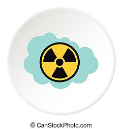 Radioactive air icon, flat style - Radioactive air icon....