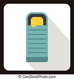 Blue sleeping bag icon, flat style - icon. Flat illustration...