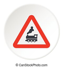 Sign railroad icon, flat style