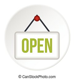 Open door sign icon, flat style - Open door sign icon. Flat...