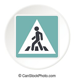 Sign pedestrian crossing icon, flat style