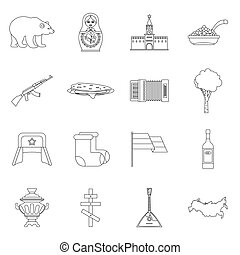 Russia icons set, outline style - Russia icons set. Outline...