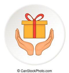 Gift logo, flat style - Gift logo. Flat illustration of gift...