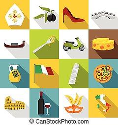Italia icons set, flat style - Italia icons set. Flat...