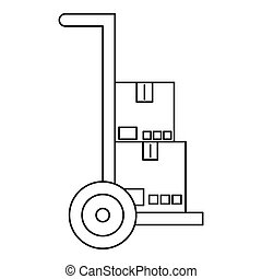 Hand truck with boxes icon, outline style