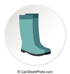 Rubber boots icon, flat style - Rubber boots icon Flat...