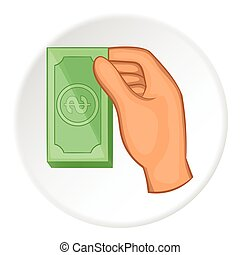 Arm with bill icon, flat style - Arm with bill icon. Flat...