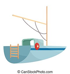 Boat icon, cartoon style - icon. Cartoon illustration of...