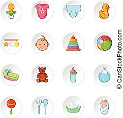 Baby care icons, cartoon style - Baby care icons set Cartoon...