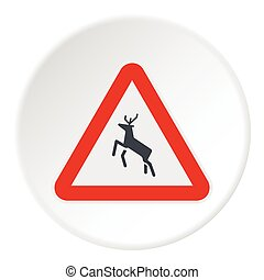 Sign caution deer icon, flat style