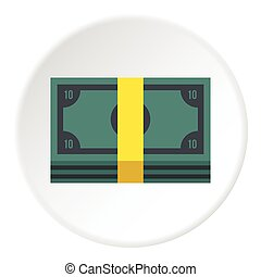 Stack of money icon, flat style - Stack of money icon. Flat...
