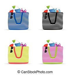 bag for beach with accessory set illustration in colorful