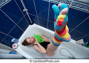Color striped socks - Crazy girl in bathroom weared in color...