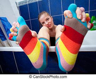 Color striped socks - Crazy girl in bathroom weared in color...