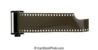 Old antique photo negative strip on white background