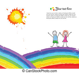 Colorful background with happy child on rainbow. Vector...