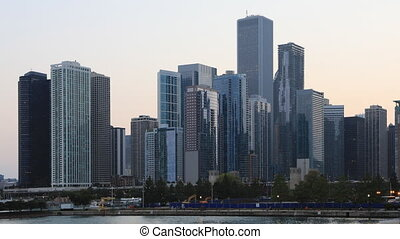 Timelapse Day to night Chicago skyline - A Timelapse Day to...