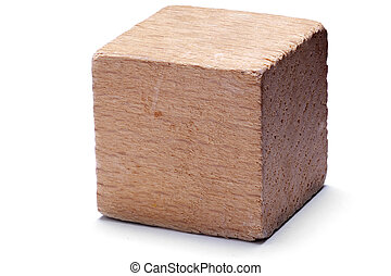 Wooden cube - Single wooden cube on isolated on white...