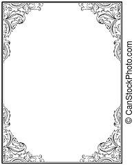 Vintage retro frame for design. Ornamental floral frame template. Black and White. Element for vintage designs, certificates, diplomas etc
