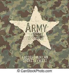 Military stamp letters. Army font with camouflage background...