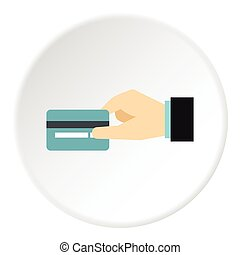 Hand holding credit card icon, flat style - Hand holding...