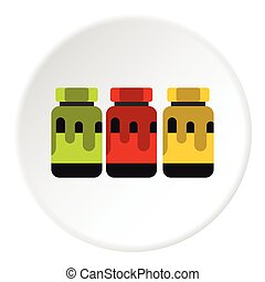 Three color gouache in jar icon, flat style