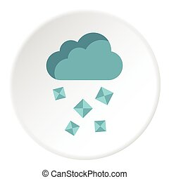 Clouds and hail icon, flat style - Clouds and hail icon....
