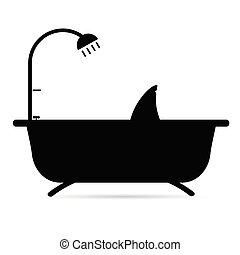 shark in bathtube silhouette in black illustration