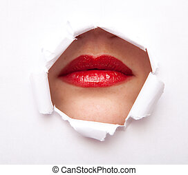 Lips from paper hole - Lips of young beauty woman with red...