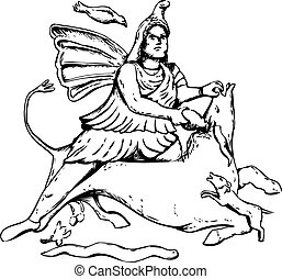 Outline drawing of Mithras slaying a black bull - Outlined...