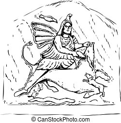 Forensic reconstruction of Mithras Tauroctony - Outlined...