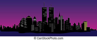 night time city - vector illustration of a night time city...